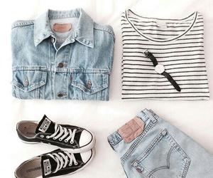 black and white, denim jacket, and fashion image