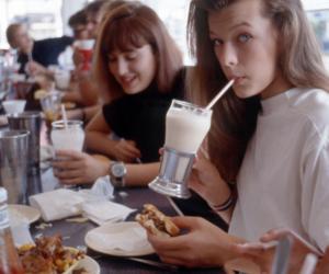 girl, Milla Jovovich, and milkshake image