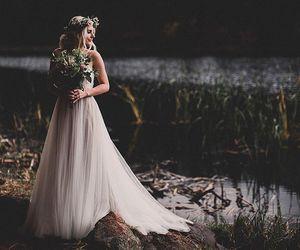 bride, fashion, and lake image