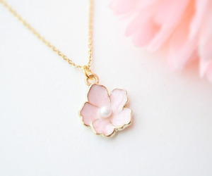 necklace, flowers, and pink image