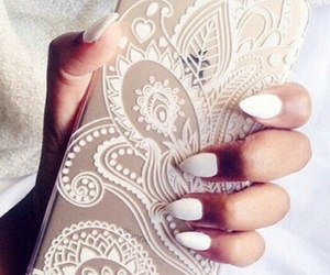 iphone, nails, and white image