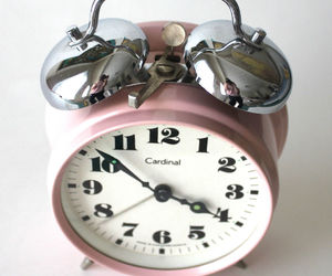pink, clock, and vintage image
