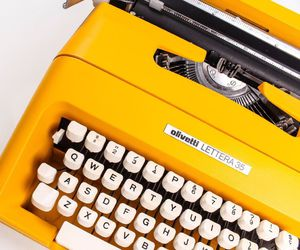 yellow, vintage, and typewriter image