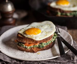 breakfast, egg, and croque madame image