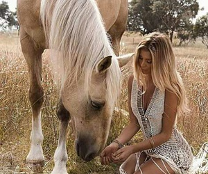 horse, beauty, and blonde image
