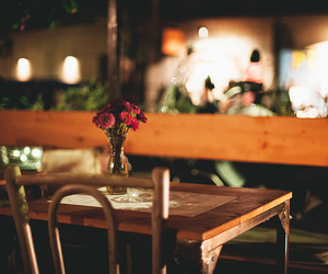 flowers, restaurant, and love image