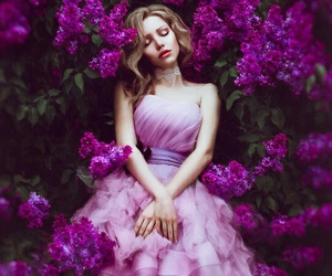 flowers, purple, and dress image