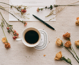 flowers, coffee, and vintage image