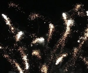 black, fireworks, and gold image