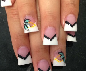 flowers, nails, and french tip image