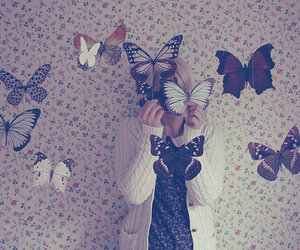 butterflies, wall, and girl image
