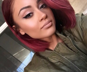 bob cut, colorful hair, and red image