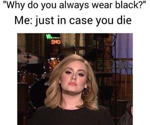 Adele, black, and funny image