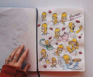 art, homer, and simpsons image