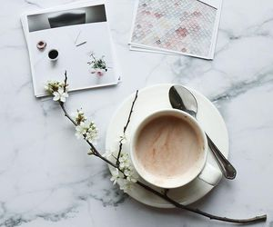 coffee, flowers, and morning image