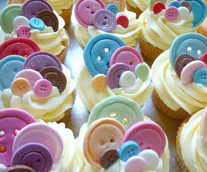 cupcake, buttons, and sweet image