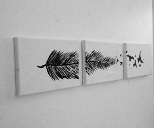 art, bird, and black and white image