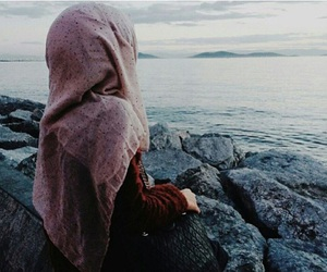 hijab and sea image