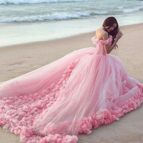 beach, beautiful, and wedding dress image