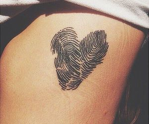 tattoo, heart, and fingerprint image