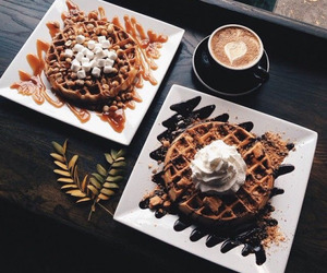food, waffles, and coffee image
