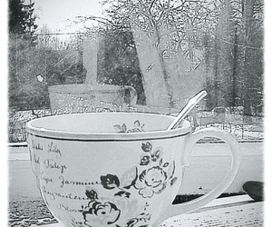 black and white, photography, and cup image