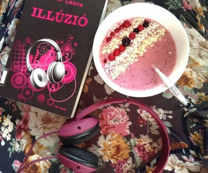 book, cereal, and headphones image