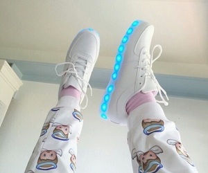 blue, shoes, and white image