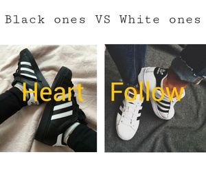 black, sneaker, and white image