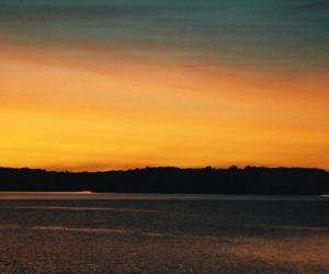 sunset over lake image