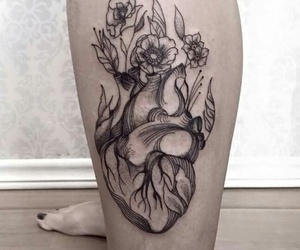 flowers, heart tattoo, and ink image