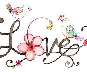 love, bird, and flowers image