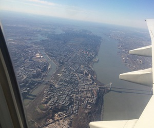 airplane, new york city, and plane image