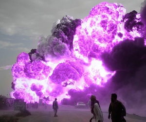 fire, purple, and explosion image