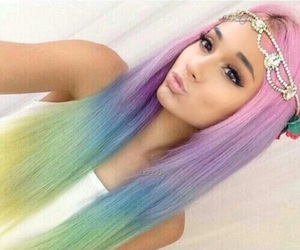 ariana grande, hair, and rainbow image