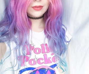 pink, hair, and purple image