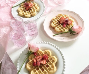 pink, waffles, and food image