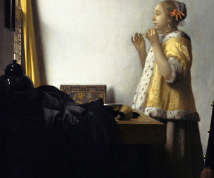 art, johannes vermeer, and pearl necklace image