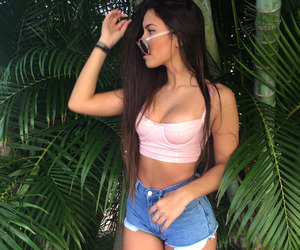 brunette, goals, and palm tree image