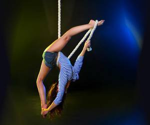 aerial, circus, and rope image