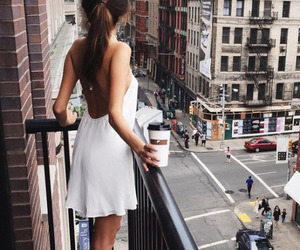 girl, city, and coffee image