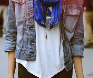 scarf, denim, and fashion image