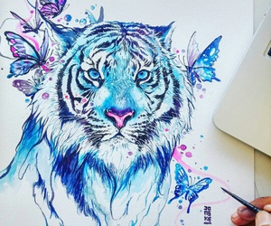 art, tiger, and drawing image
