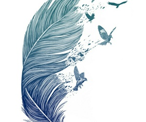 bird, art, and blue image