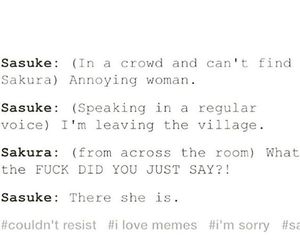 annoying, funny, and sasusaku image