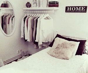 bed, room, and clothes image
