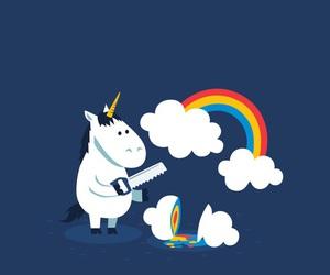 unicorn, rainbow, and clouds image