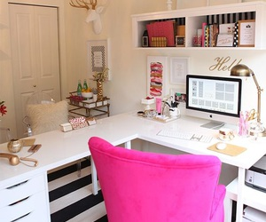 office, home, and pink image