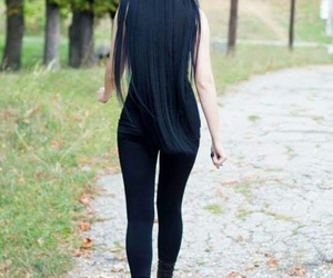 black, hair, and long image
