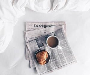 coffee, croissant, and morning image